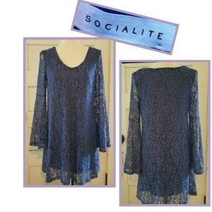 Socialite Elegant Purple Floral Lace Overlay Dress